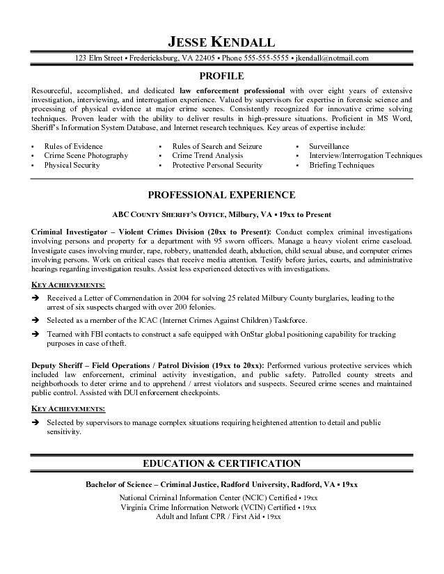 resume builder for police officer