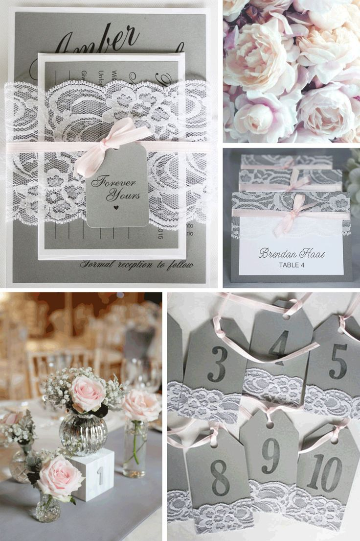 Grey and Pink Table Numbers Grey Pink Wedding Grey Blush
