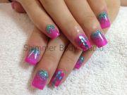 gel nails pink aqua teal