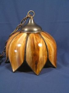 Vintage Slag Stained Glass Tulip Lotus 8 Panel Hanging Swag Lamp Rootbeer Color Lamps Pinterest