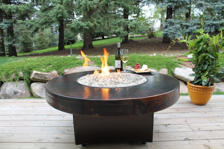 Oriflamme Round Hammered Copper Fire Pit Table