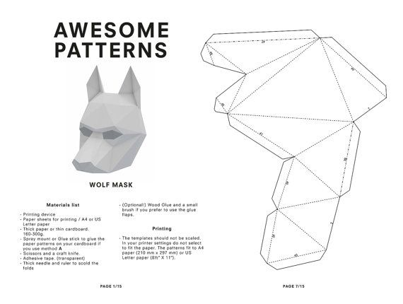 Make your own Wolf Mask, Animal Mask, Printable Mask for