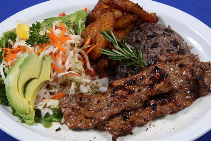 Carne Asada with maduros sweet plantains gallo pinto