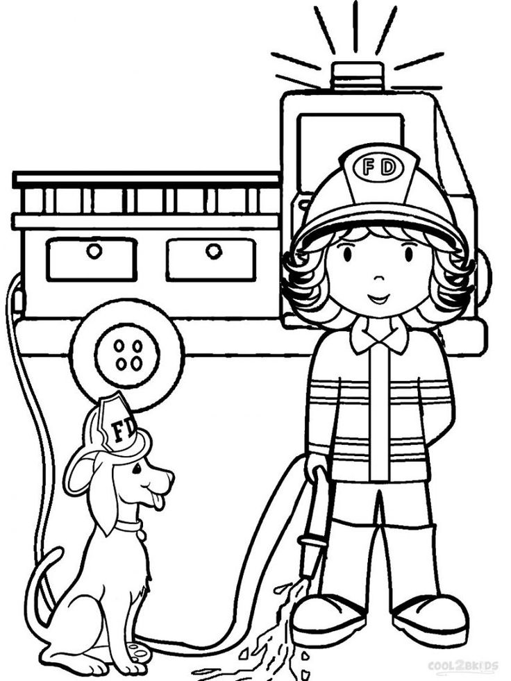 preschool coloring pages fire woman, fire truck and fire