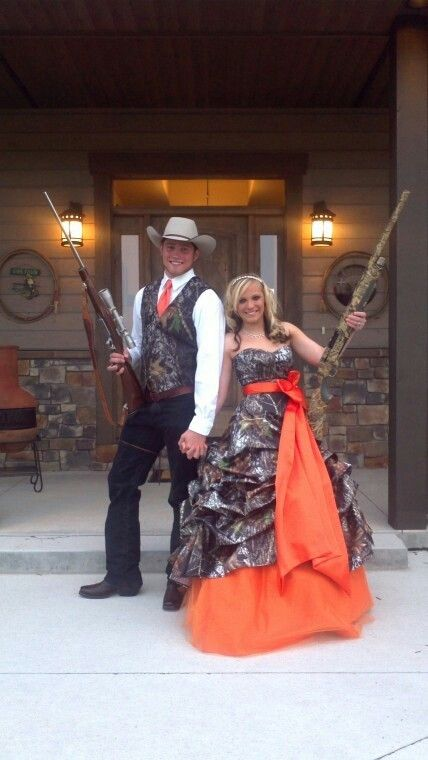 Hunters Orange Camo Couples Outfit For Promhomecoming