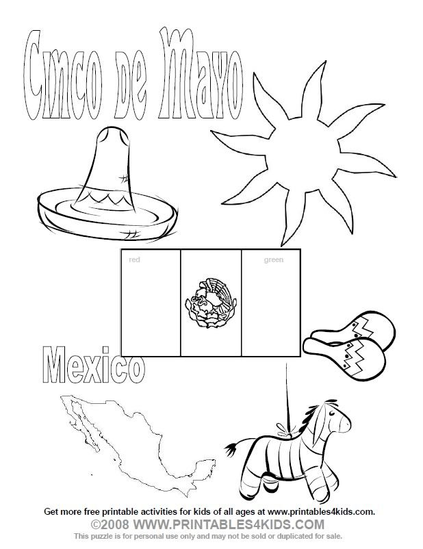 Cinco De Mayo Coloring Pages For Kids Kidsfreecoloring.Net