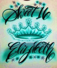 Airbrush T Shirt Sweet 16 With Crown And Name, Airbrush ...