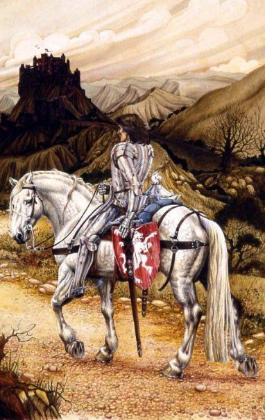 Knight On A White Horse Watercolour By Elizabeth Alger