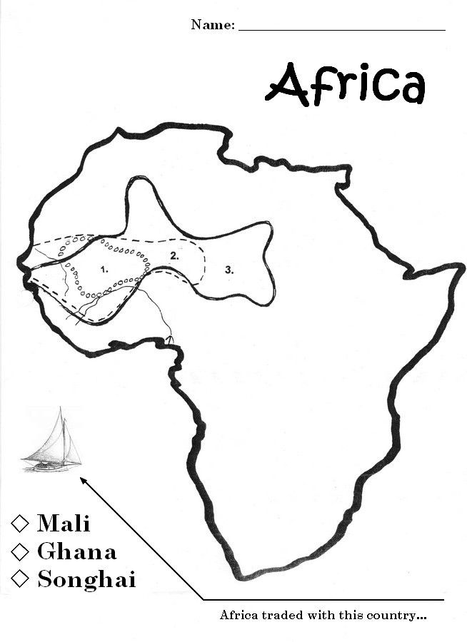 Free outline map of ancient Ghana, Songhay and Mali