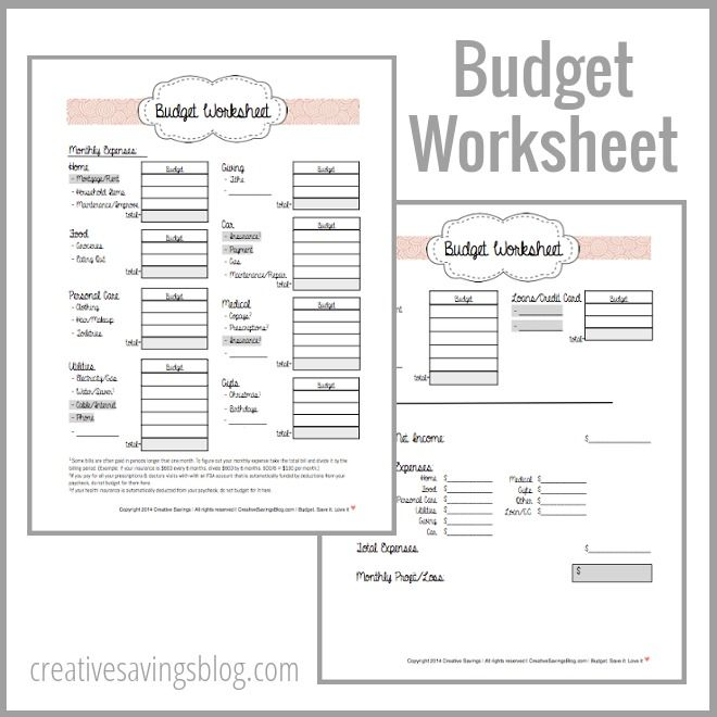 Free Printable Budget Worksheets and advice on how to get