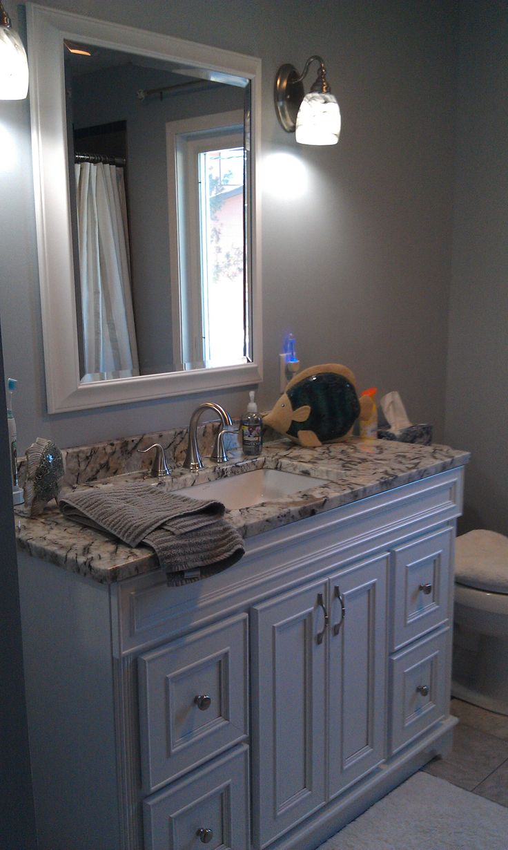 Gray and blue bathroom  For the Home  Pinterest  Colors The ojays and Blue