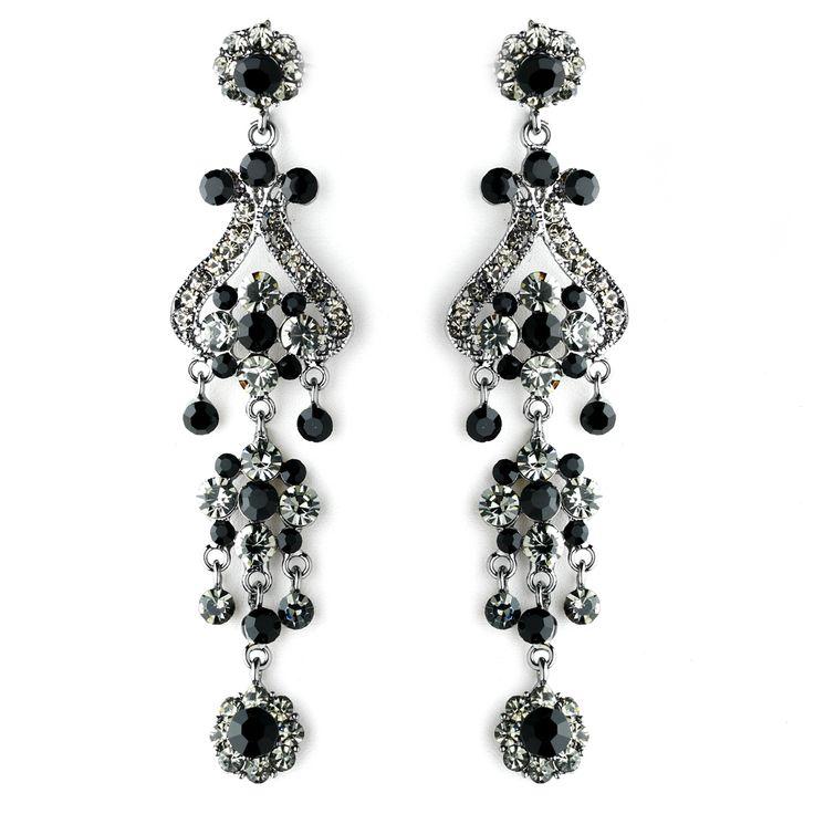 """4"""" Black Rhinestone Chandelier Earrings"""