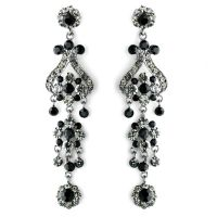 "4"" Black Rhinestone Chandelier Earrings"