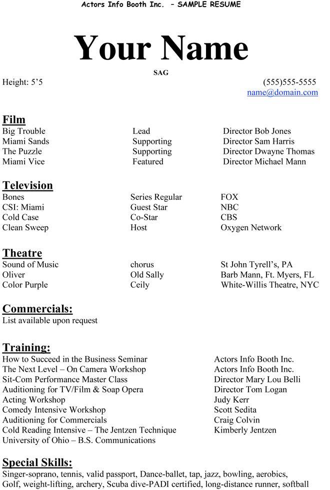 Acting Resume Beginner  httpwwwresumecareerinfo