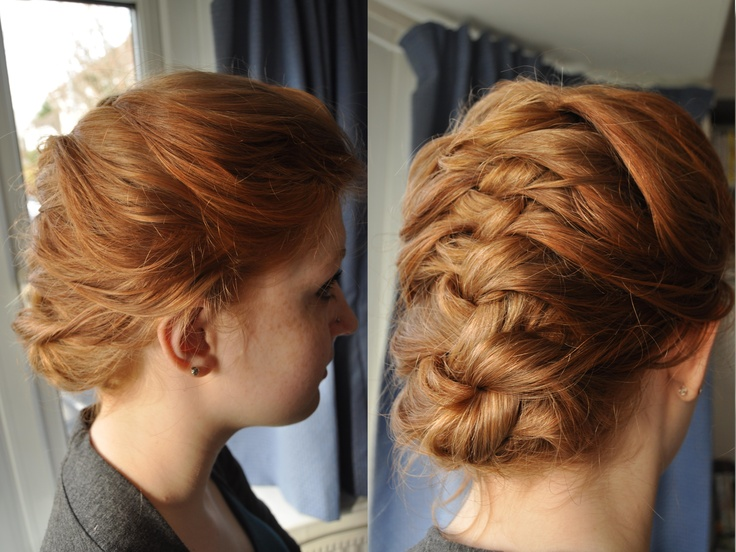 Short hair style updo french braid