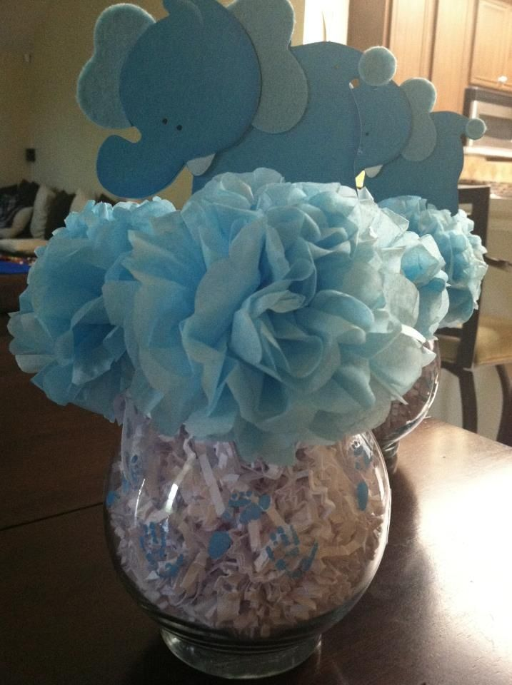 Easy cheap centerpiece for a baby shower Carnations made of tissue paper  Craft it up