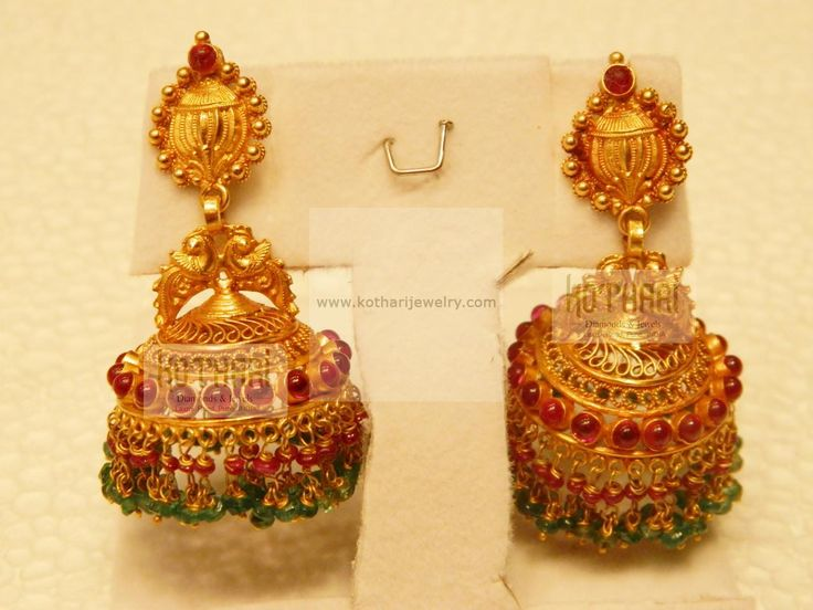 Pin By Sona On Earrings Gold Jhumka Pinterest