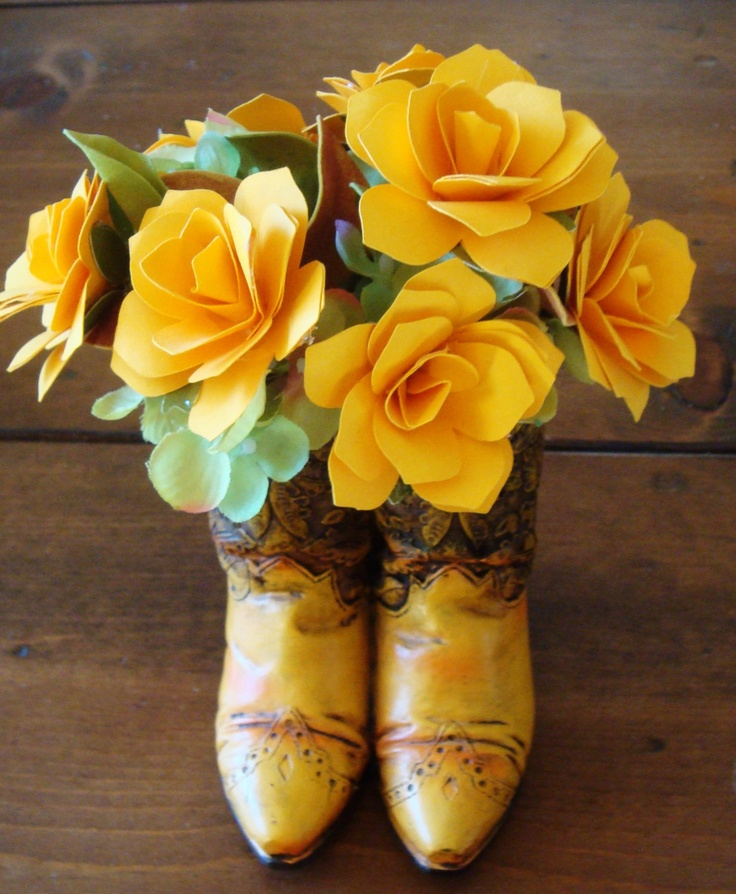 Cowboy Boots Or CowGirl Paper Flower Arrangement Yellow