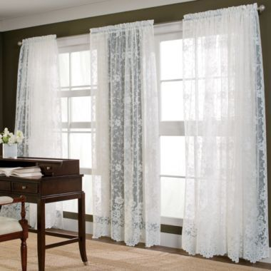 cafe curtains for kitchen countertops cost per square foot home™ shari lace rod-pocket sheer panel | the o'jays ...