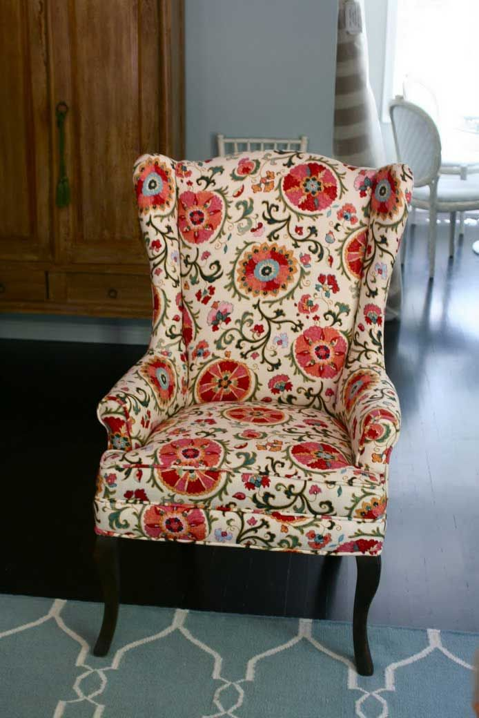 floral upholstered chair little kids table and chairs upholstery fabric | for vintage wingback : ...