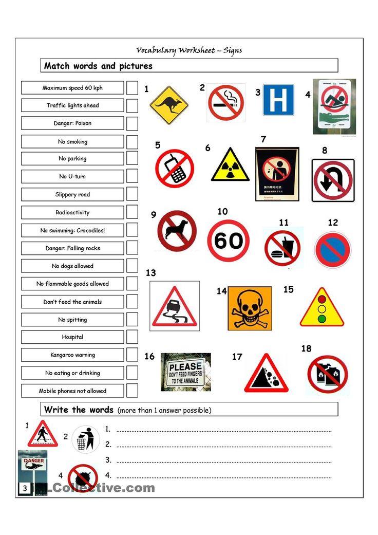 Vocabulary Matching Worksheet  Signs  English Language