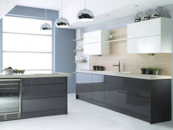 grey high gloss kitchen doors handleless kitchen doors dark grey - Google Search | Kitchen Design Ideas | Pinterest | Kitchen