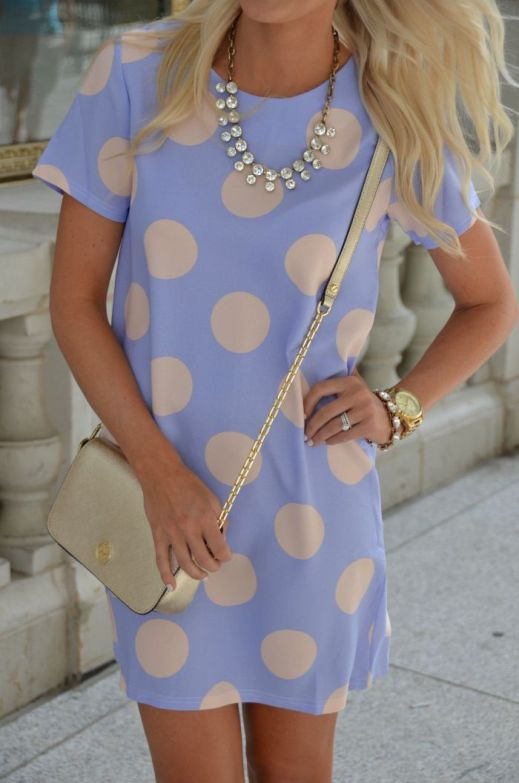 statement necklace and polka dot pastel dress: