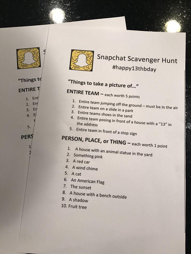 Snapchat Neighborhood Scavenger Hunt Cierra's 13th
