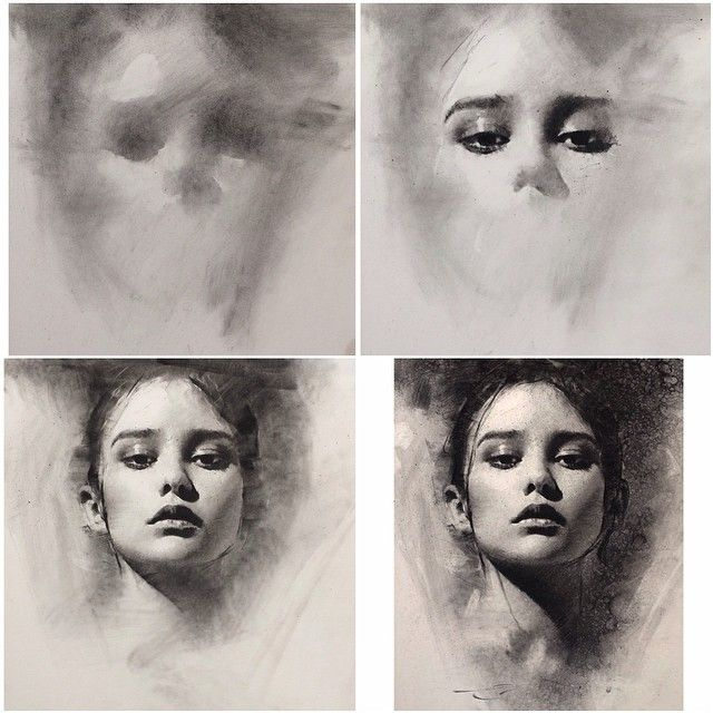 4 stages of charcoal portrait drawing – general to specific approach by Casey Baugh