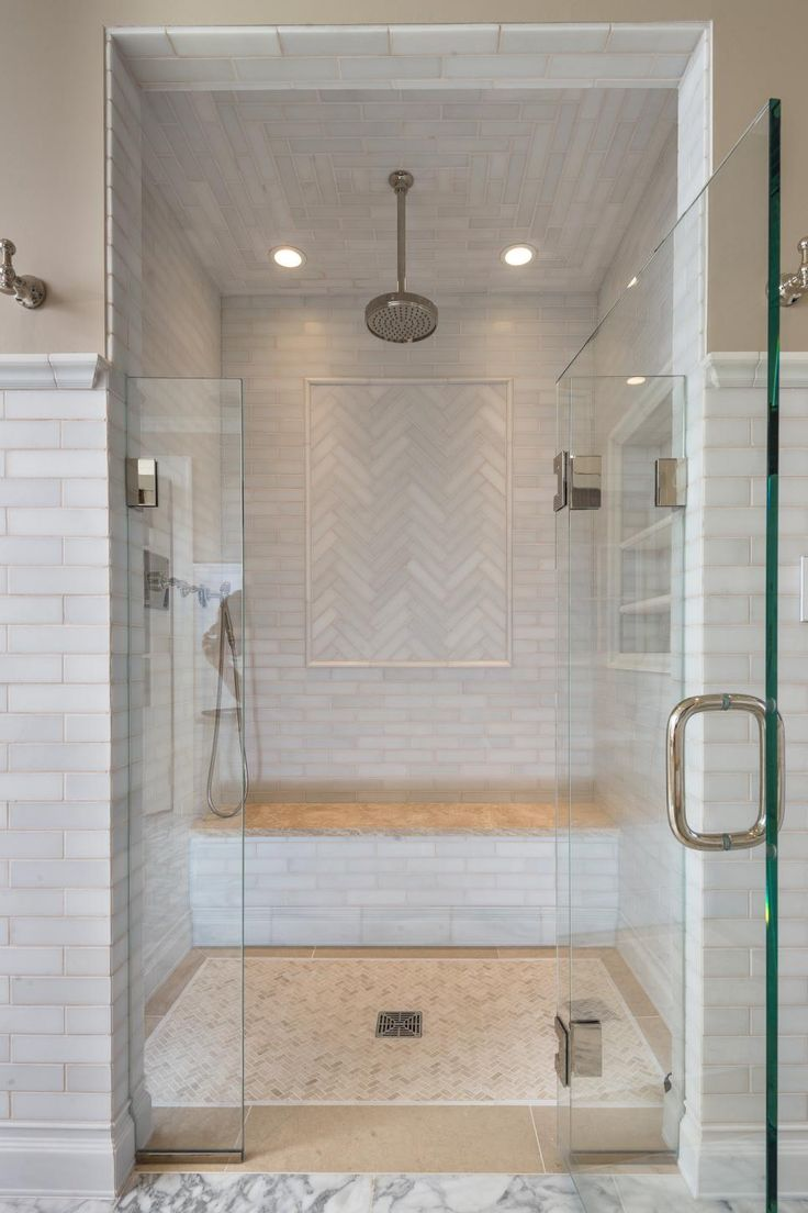 The master bathroom for her features a beautiful walkin