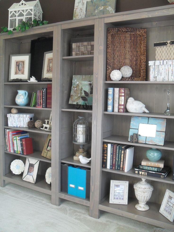 Ikea Hemnes bookshelves in greybrown Dining Room turned