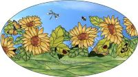 sunflowers and butterflies 2 oval Decorative Window Film ...