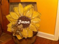 Sunflower Burlap Door Hanger | My Projects | Pinterest ...