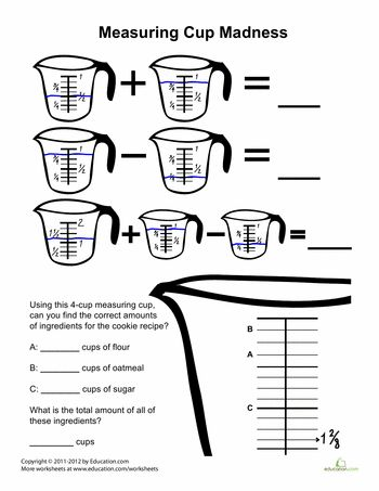 Cups, Measuring cups and Worksheets on Pinterest