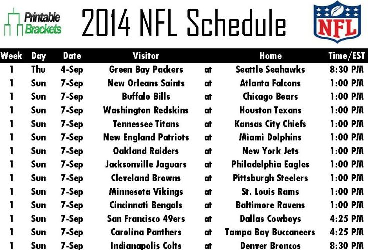 17 Best ideas about Printable Nfl Schedule on Pinterest