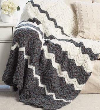 Bernat Soft Boucle Ripple Blanket knit pattern Free
