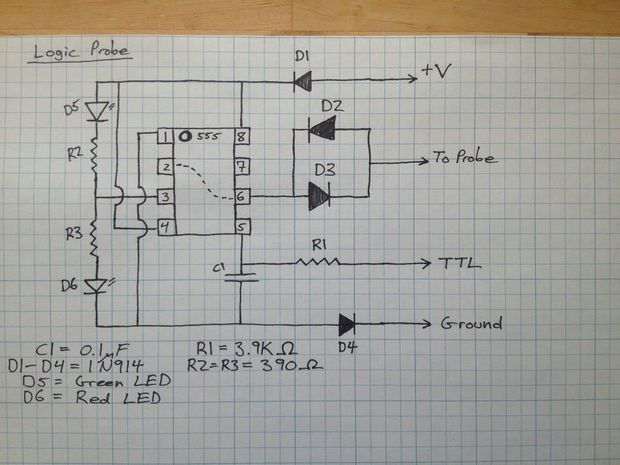 Electromag Circuit Diagram On 555 Logic Probe Circuit Diagram