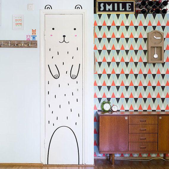 Haru the Happy Bear Door decal / Wall decal for doors