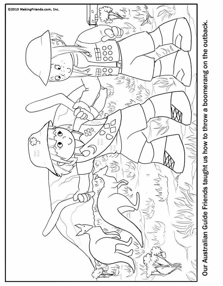 Australian Girl Guide Coloring Page. Just print and color
