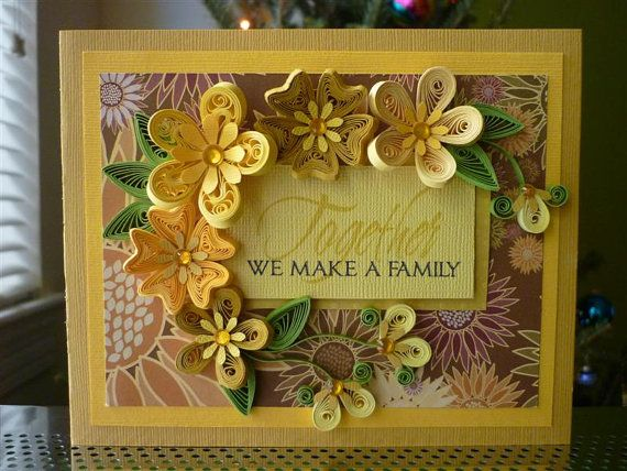 "Handmade Paper Quilling Yellow Greeting Card ""Together We"