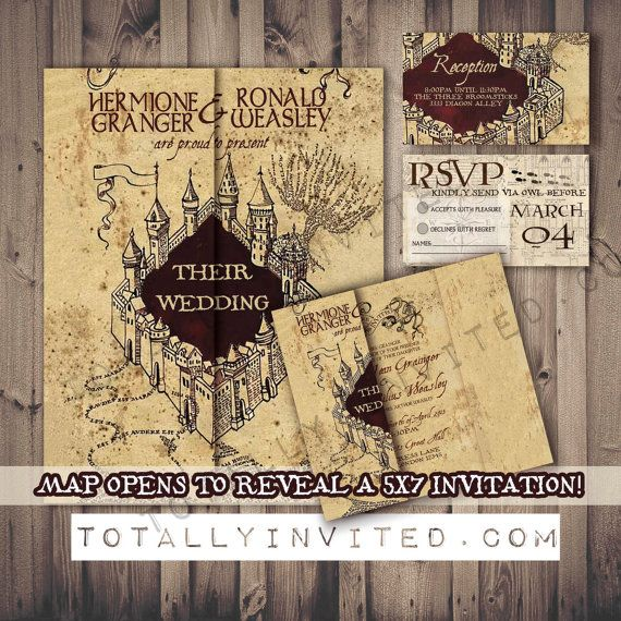 Harry Potter Wedding Invitation Set Marauder's Map