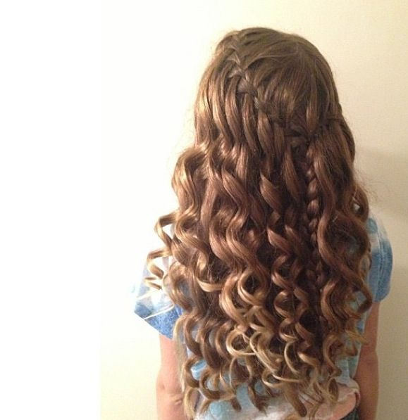 Curly Hair & Waterfall Braid