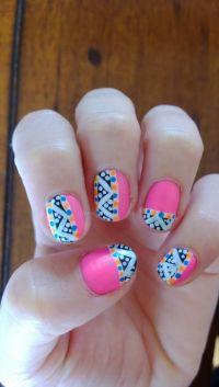 Hot pink Aztec nail art design | My nail art | Pinterest ...