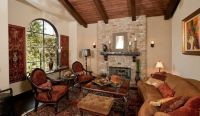 Tuscan living room, warm colors, wood beam ceiling, and ...