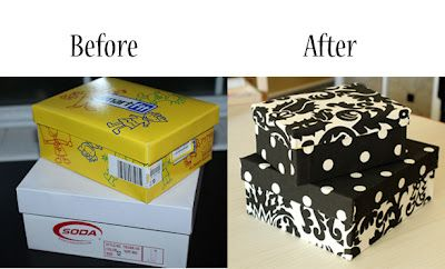 Great organizing solution on the cheap! Boxes with bottoms and lids covered with fabric. Makes me rethink what I recycle. From