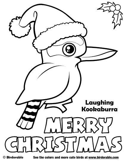 Birdorable Laughing Kookaburra Merry Christmas Coloring