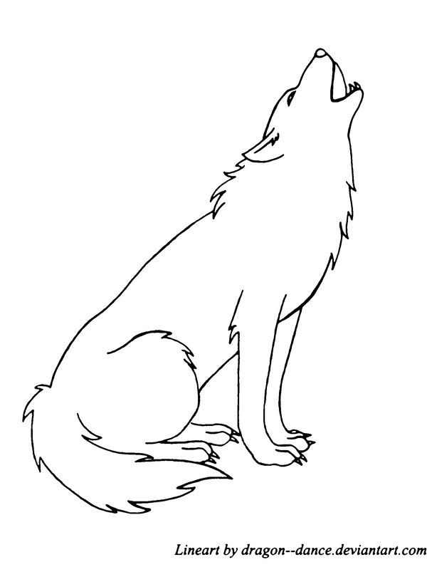 FREE Howling Wolf Line Art by DansuDragon.deviantart.com