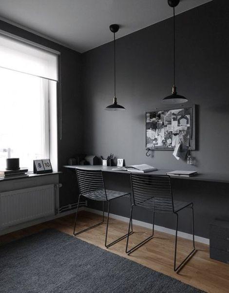 dark grey home office Best 20+ Black Interiors ideas on Pinterest | Modern
