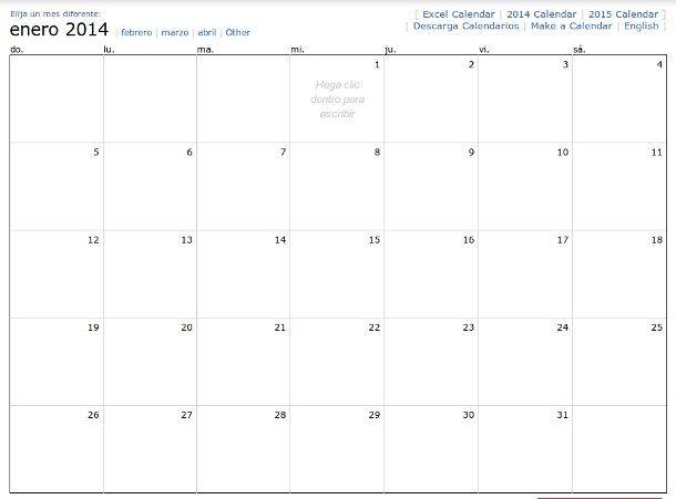 Calendario mensual de 2014 para realizar anotaciones