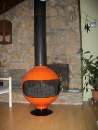 RARE Round Mid Century Mod Orange Freestanding Cone ...